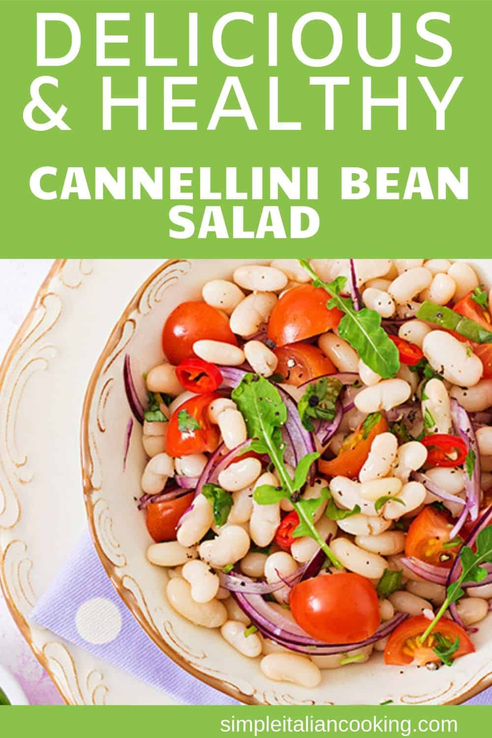 Make a healthy and amazingly delicious cannellini bean salad.  This Italian side dish or main meal uses wonderful ingredients like tomatoes, olives,  garlic, artichokes and more! Great for parties, Christmas, or holiday!  #italiansalad #easysalad #partysalad #easysidedish #healthylunch #cannellinibeans