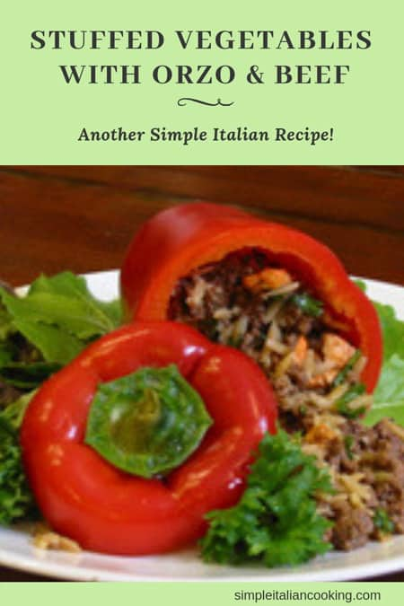 stuffed pepper with orzo and beef