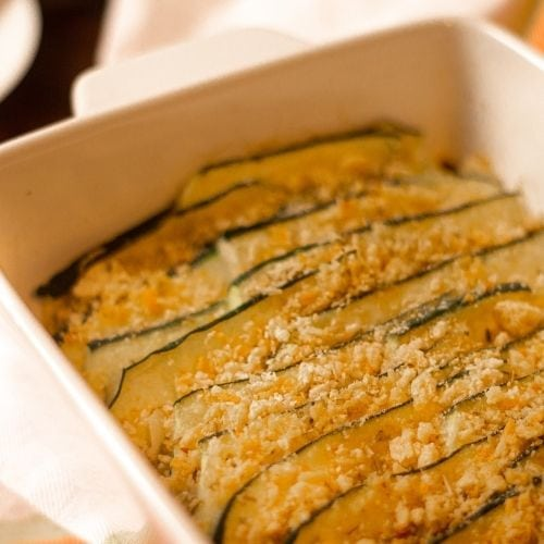 Baked zucchini slides with herbs