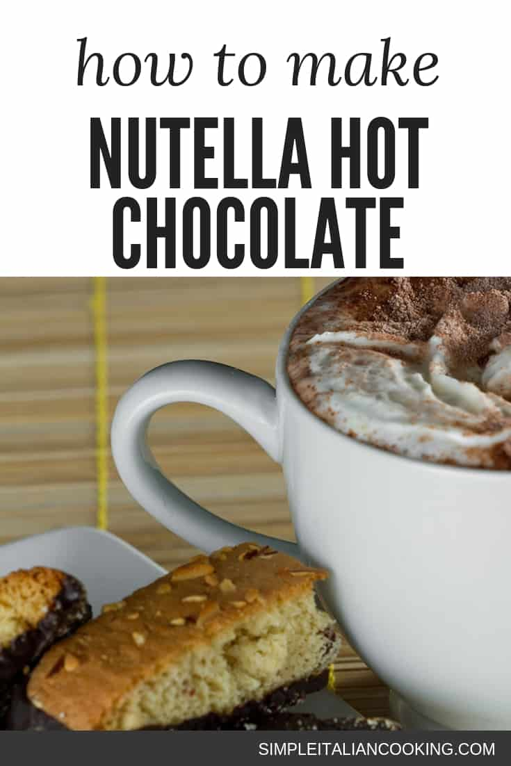 Give your hot chocolate some extra love with this Italian-inspired version with Nutella!  Enjoy the recipe for a nice valentine\'s day drink, or for the holidays with dessert.