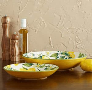 Side view of the pasta bowl with lemons by Mikassa
