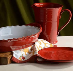 handpainted Rosso dinner set