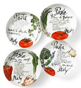 Set of 4 pasta bowls with words