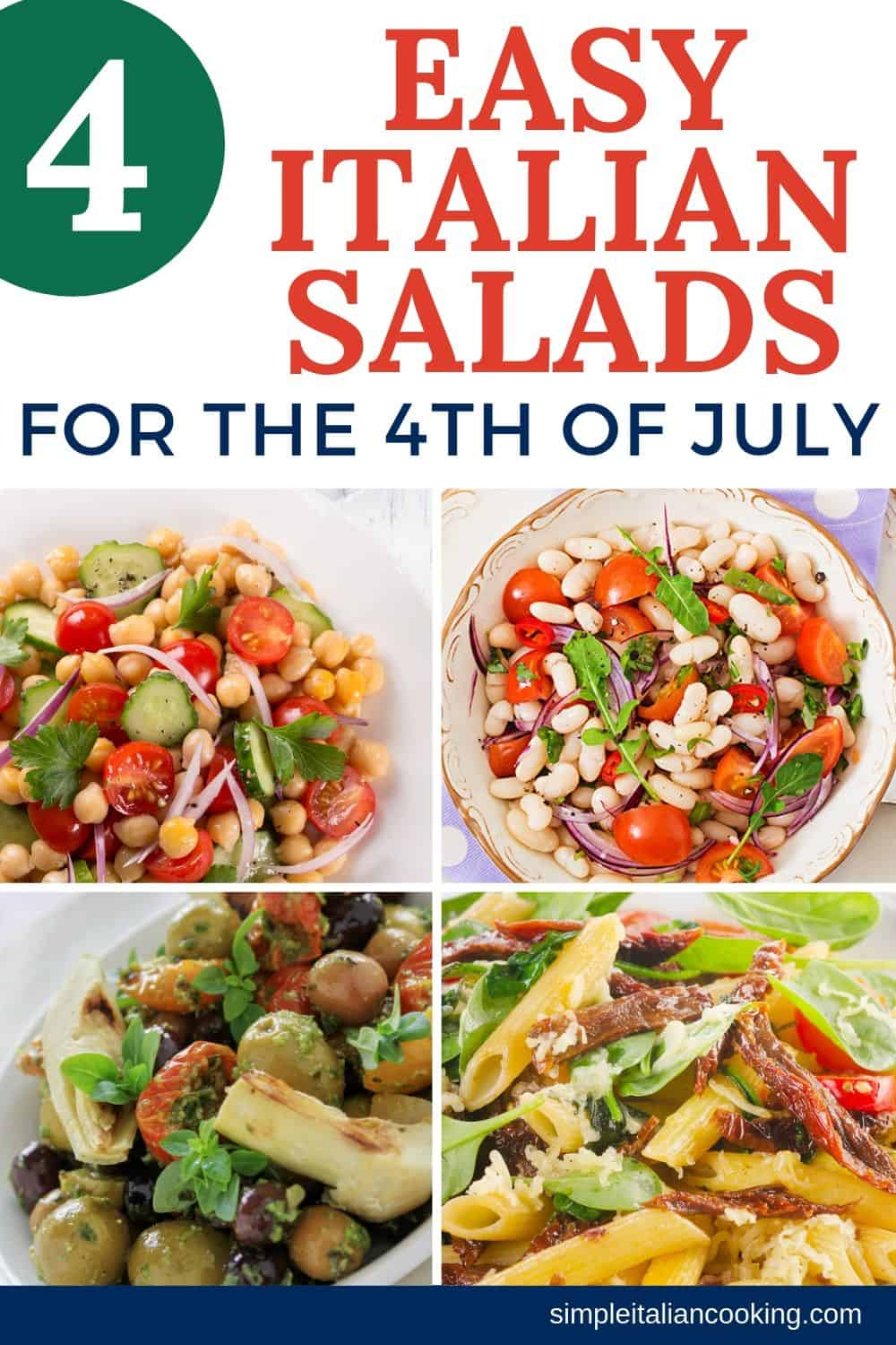 Need 4th of July salad recipe ideas? Enjoy these Easy Italian salad recipes for this special holiday! Easy to make and prepare the day before.  #4thofjulysalads #easyholidaysalads #italiansalads #saladsforthe4th #4thofjulyvegetariansalad #saladideas