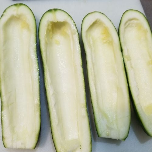 hollowed out zucchini